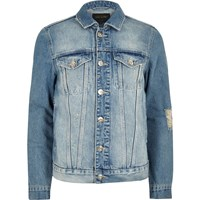 River Island Big And Tall Blue Distressed Denim Jacket