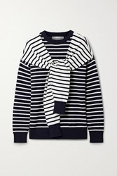 Michael Kors Collection Tie Front Striped Cashmere Sweater Midnight Blue