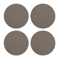 Amara Round Leather Coasters Set Of 4 Espresso