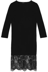 Raoul Lace Paneled Merino Wool Dress Black