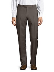 Giorgio Armani Solid Straight Fit Woolen Pants Dark Brown