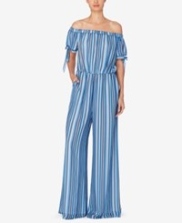 Catherine Malandrino Striped Off The Shoulder Jumpsuit Chain Stripe Blue