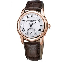 Frederique Constant Fc710mc4h4 Classic Gold Plated And Leather Unisex Watch Steel