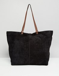 Asos Suede Croc Shopper Bag With Knot Detail Black And Tan Multi