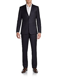 Saks Fifth Avenue Black Slim Fit Pinstriped Wool Suit Dark Navy