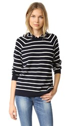 Chinti And Parker Striped Hoodie Navy Cream
