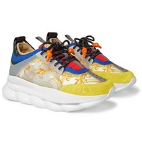 Versace Chain Reaction Rubber And Suede Panelled Canvas Sneakers Yellow