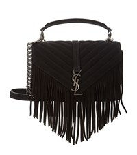 Saint Laurent Fringe College Bag Female Black