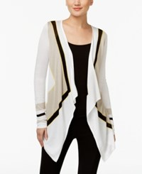 Inc International Concepts Petite Colorblocked Handkerchief Hem Cardigan Only At Macy's Washed White