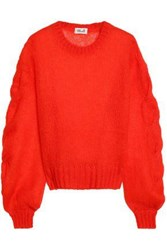 Baum Und Pferdgarten Cable And Open Knit Mohair Blend Sweater Papaya