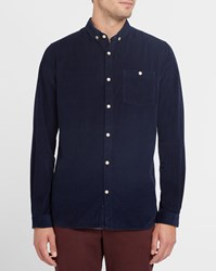 Knowledge Cotton Apparel Navy Corduroy Button Down Shirt Blue