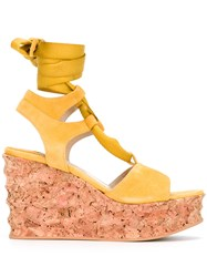 Paloma Barcelo Irmine Cork Wedge Sandals Yellow Orange