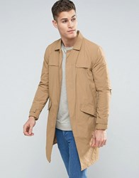 Bershka Lightweight Button Coat In Tan Mink