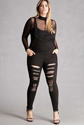 Forever 21 Plus Size Raw Cutout Overalls Black