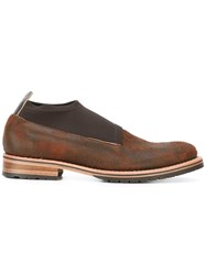 Last Sole Distressed Sock Shoes Men Leather Nylon Rubber 44 Brown