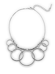 Saks Fifth Avenue Pave Circle Statement Necklace Silver