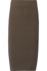 James Perse Ribbed Stretch Cotton Blend Skirt Army Green