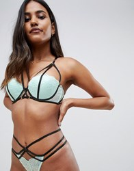 Ann Summers Midnight Kiss Balcony Lace And Strapping Detail Bra In Mint Mint Black Green