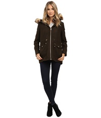 Jessica Simpson Melton Touch Anorak Coat With Faux Fur Olive Women's Coat