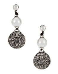 Uno De 50 Faux Pearl And Metal Drop Earrings Silver