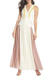 Harlyn Colorblock Pleated Gown Off White Pink