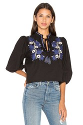 Suno Two Tone Floral Top Black