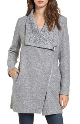 Bb Dakota Women's Maggie Brushed Fleece Drape Collar Coat Light Heather Grey