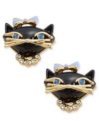 Kate Spade New York Gold Tone Crystal And Enamel Black Cat Stud Earrings Black Multi