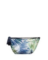 Neiman Marcus Transparent Palm Tree Print Cosmetic Pouch Navy