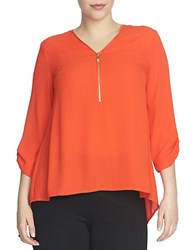 Chaus Roll Tab V Neck Zipper Blouse Red