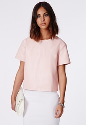 Missguided Faux Leather Shell Top Baby Pink