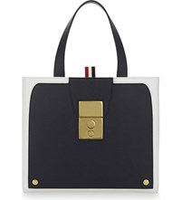 Thom Browne Leather Tote Navy