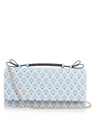 Red Valentino Floral Brocade Clutch Blue Multi