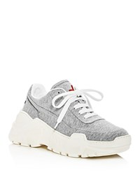 Joshua Sanders Zenith Leather Lace Up Platform Sneakers Gray