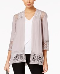 Ny Collection Lace Trim Cardigan Gull Gray