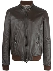 Jacob Cohen Leather Zip Jacket Brown