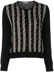 Oscar De La Renta Striped Cardigan Black