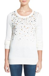 Petite Women's Halogen Embellished Crewneck Sweater Ivory Pearl Pattern