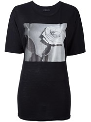 Diesel Rose Print T Shirt Black