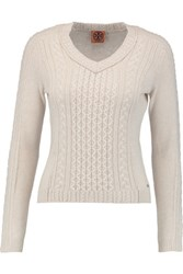 Tory Burch Faith Cable Knit Wool And Cashmere Blend Sweater Cream