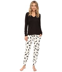Bedhead French Terry Long Sleeve Hoodie And Jogger Pants Set Tiffany's Cat Women's Pajama Sets Beige