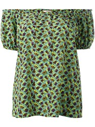 Etro Off Shoulder Printed Top Green