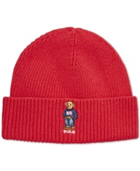 Polo Ralph Lauren Ribbed Embroidered Bear Hat Tudor Red