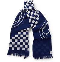 Junya Watanabe Printed Cotton And Linen Blend Scarf Blue