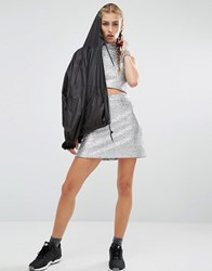 Jaded London Sparkle High Rise Mini Skirt Co Ord Silver