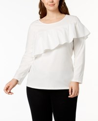 Style And Co Plus Size Asymmetrical Ruffle Top Created For Macy's Winter White