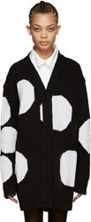 Msgm Black Polka Dot Cardigan