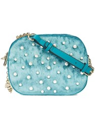 Christian Siriano Pearl Embellished Crossbody Bag Polyester Blue