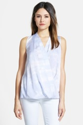 Classiques Entier Faux Wrap Sleeveless Stretch Silk Top Blue