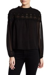 English Factory Crochet Trim Gathered Blouse Black